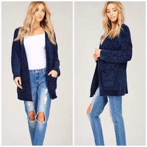 Chenille Cardigan Navy in stock 11/15 reserve now!