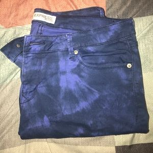 Blue Tie-Dye Express cropped jeans