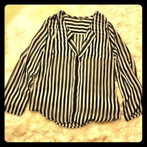 Boho vintage horizontal striped shirt