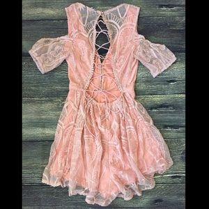 Pants - Pink lace up romper playsuit jumpsuit tie back