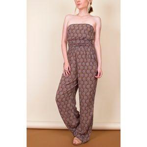 Zara strapless floral print wide leg jumpsuit