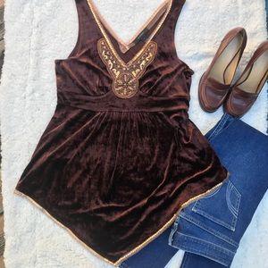 Express chocolate brown velvet top.