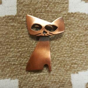 Rare Vintage Signed KIM Cat Brooch Pin