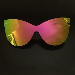 Frameless Oversized Cat Eye Reflective Sunglasses