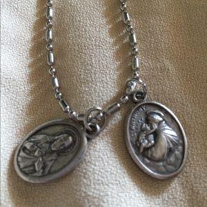 Catholic vintage Italian Saint charms necklace