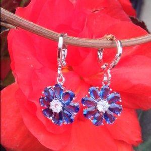 925 Silver Blue/Clear Topaz Earrings