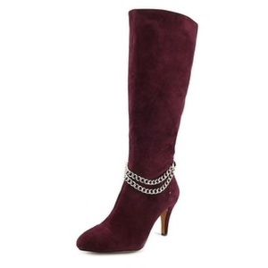 Vince Camuto Burgundy Boots with gold chain accent