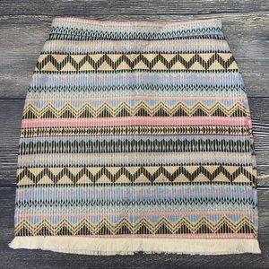 Dresses & Skirts - Fringe hem metallic thread Aztec skirt mini tribal