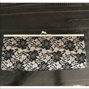 Forever 21 black lace clutch