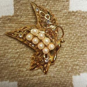 Gold Tone Pearl Rhinestone Butterfly Brooch