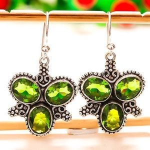 NEW! ST Silver 925 Green Gem Butterfly Earrings