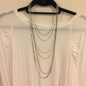 Banana Republic 6 layer silver necklace