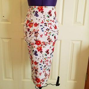 Flower print Pencil skirt