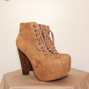 Jeffrey Campbell Lita suede ankle boots in taupe