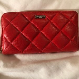 Kate Spade red quilted wallet