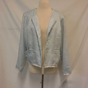 Coldwater Creek Blue and White Textured Blazer