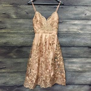 Rose gold floral embroidered dress flared prom