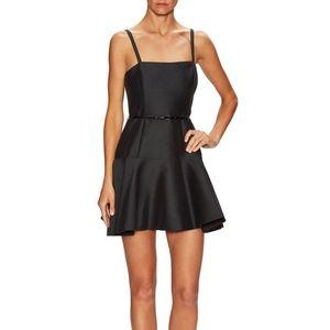 Halston Heritage black cotton strap fitflare dress