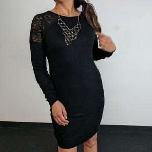 Black Lace Panel Sweater Dress
