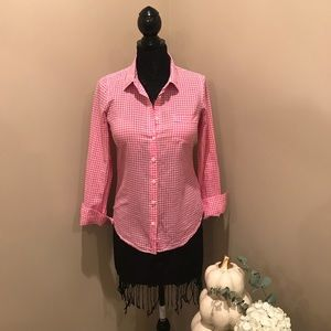 "J.Crew "" The Perfect Shirt"" pink gingham"