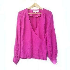 TRINA TURK Pink Fushia Silk Faux Wrap Blouse