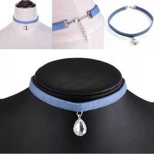 💋NEW💋Denim Water Drop Choker Necklace