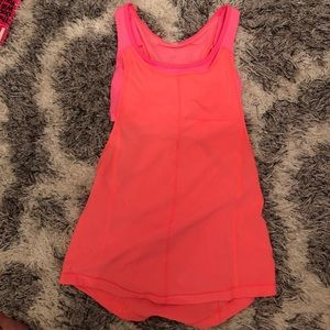 Lululemon coral tank with built in bra 2