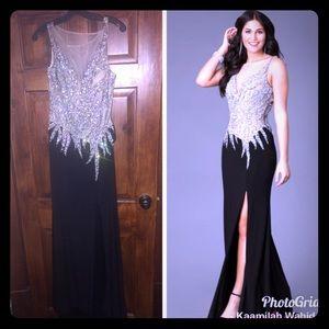 Black sequin dress with split
