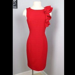 Calvin Klein Red Ruffle Business Dress