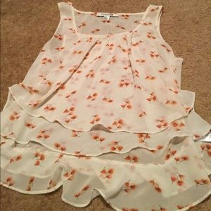 Cream colored floral tank top