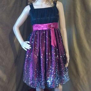 😺 Magenta Sequined Party Dress