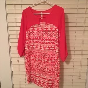Coral long sleeve dress