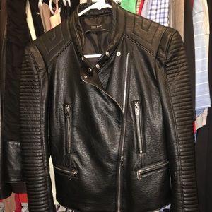 Zara faux black leather moto jacket size 28