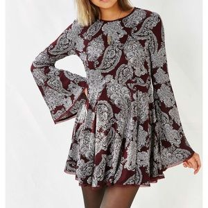 Urban outfitters bell sleeved maroon dress