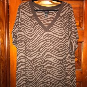 Torrid brown Zebra striped shirt. Size 4.