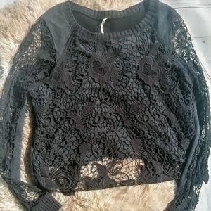 Free People cropped crochet long sleeve top