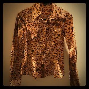 Bebe snake pattern, button down long sleeve.