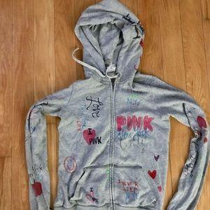 Victoria secret pink xs zip hoodie gray