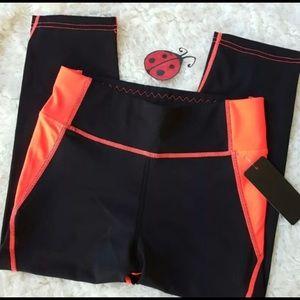 Pants - Black Coral Capri Workout Leggings
