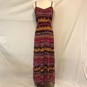 LOFT Tribal Printed Side Slit Maxi Dress