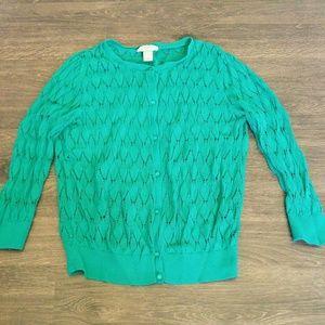 LOFT Kelly Green 3/4 Sleeve Crotchet Cardigan