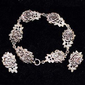 Vintage Cellini Silver 3D Rose Bracelet & Earrings