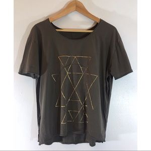 Urban Outfitters Geometric Side Slit Tee Shirt