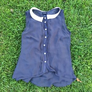 Sheer Navy Tank with Collar