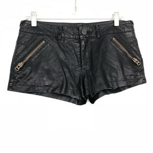 Free People Black Faux Leather Shorts
