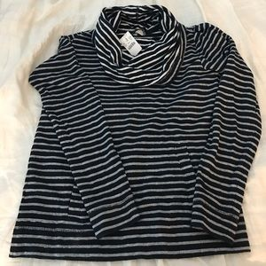NWT Navy and White Jcrew Cowl Neck