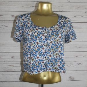 {TopShop} Blue Floral Short Sleeve Button Down Top