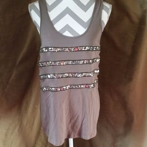 😺 INC International Concepts Brown Sequined Tank