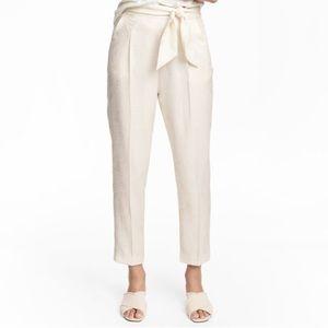 Natural White Palm Leaf Sash Tie Pant