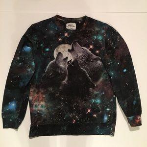 The Mountain M wolf galaxy sweatshirt Stars